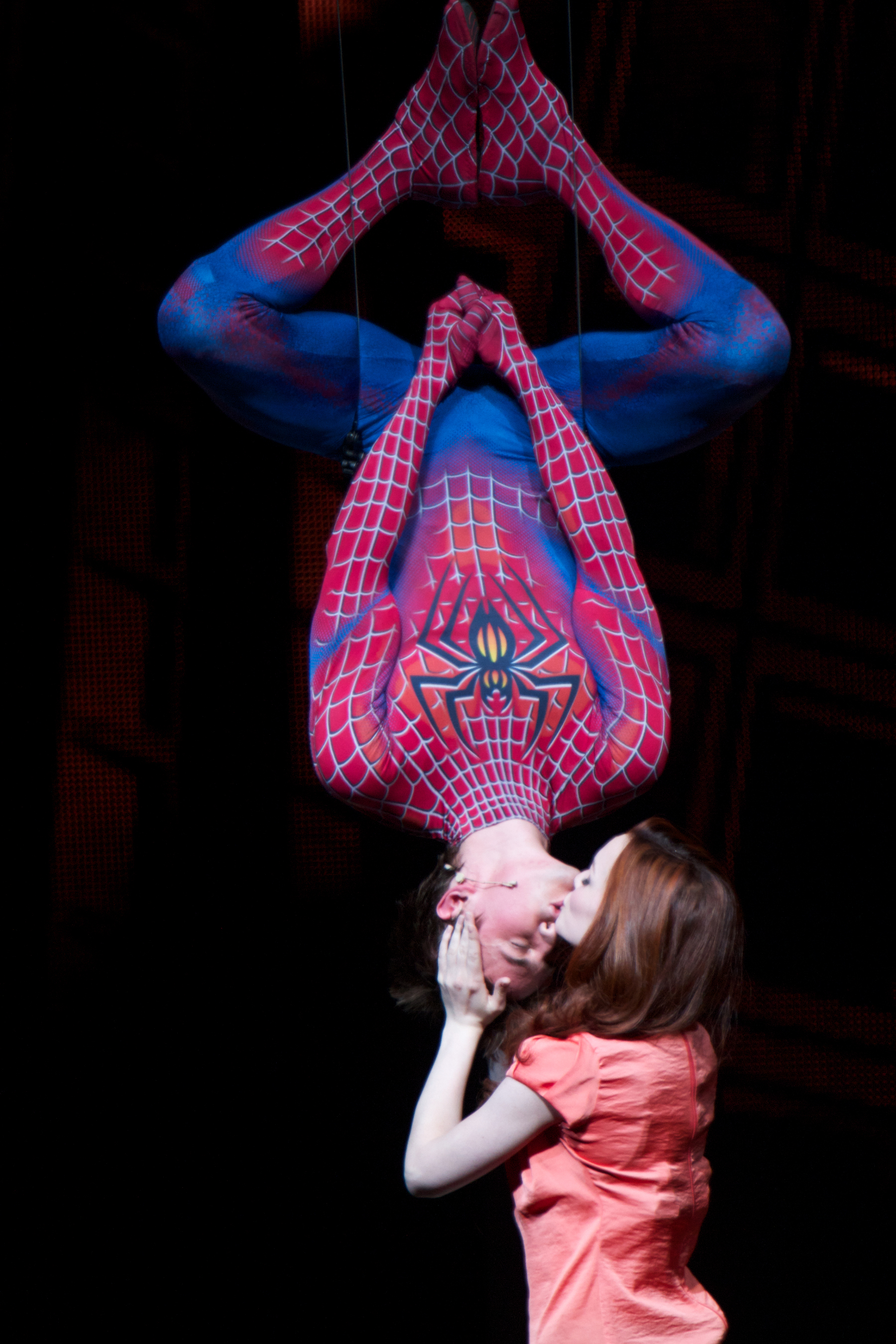 """Reeve Carney and Jennifer Damiano in a scene from """"SPIDER-MAN Turn Off The Dark"""" © Jacob Cohl"""